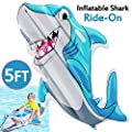 5 Ft Inflatable Pool Float for Kids Shark Ride-On Water Floaties Pool Toys for Boys Pool Shark Raft Lounge Summer Water Fun Party Ages 3+ Childrens Day Gifts