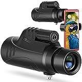 TELMU Telescopio monocular 10X42 para adultos, prisma BAK-4, parche giratorio con visor de rifle de alta resolución y adaptador para teléfono inteligente, para la caza, el campamento, los viajes