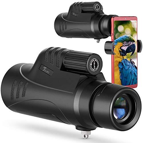 TELMU Monokular Teleskop 10X42 für Erwachsene, BAK-4-Prisma, Schwenkbare Augenklappe mit hochauflösendem Zielfernrohr und Smartphone-Adapter - für Jagd, Camping, Reisen und Wildtierbeobachtung