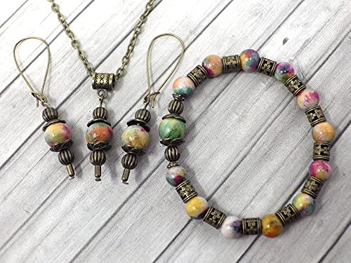 Parure di gioielli con bracciale, orecchini e collana in stile vintage per donna in giada colorata verde e marrone
