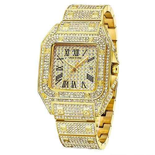 xiaoxioaguo Europeo y americano completo de diamantes reloj de los hombres reloj de diamante completo de la banda de acero de los hombres reloj de la esfera grande reloj de cuarzo