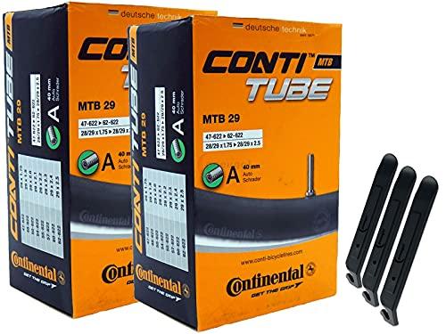 pneugo! Continental 47-622/62-622 - Juego de 2 cámaras de aire para bicicleta (29', válvula de coche, 3 desmontadores de neumáticos)