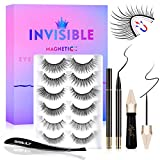 Magnetic Eyelashes with Eyeliner, Invisible Magnetic Lashes Mink Kits with 2 Liquid Eyeliner 6 Invisible Reusable Waterproof False Eyelashes, Eyelash Tweezers and 10 Makeup Removal Cotton Stick