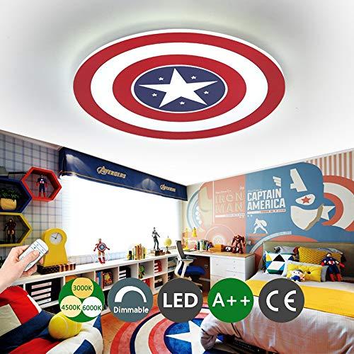 Luz de techo del Capitán América Lámpara de techo LED creativa Lámpara de pared Regulable con control remoto de metal Cuarto de los niños Habitación Iluminación decorativa,12WØ23CM