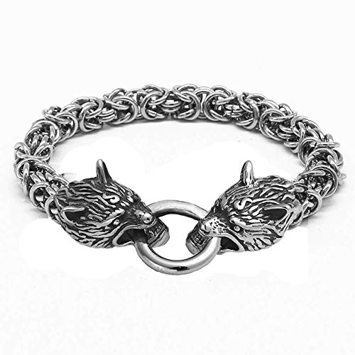 Nordic Mixed Gold Double Wolf Head Bracelet for Men, Nordic Mythology Fenrir Heavy Stainless Steel King Chairmreif Jewellery Silver 19 cm