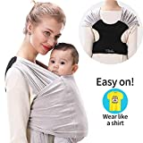 ZIIDOO Baby Wrap Carrier,Stretchy Baby Wrap Sling,Easy to Wear Baby Ring Sling for Newborn and Children up to 35 lbs