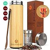 DOUNGURI Bamboo Tea Tumbler Mug with Strainer Infuser - 18 oz Vacuum Insulated Stainless Steel...