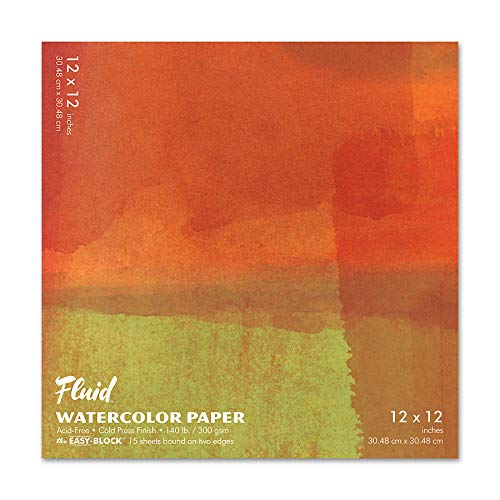 Fluid Watercolor Paper 881212 140LB Cold Press 12 x 12 Block, 15 Sheets
