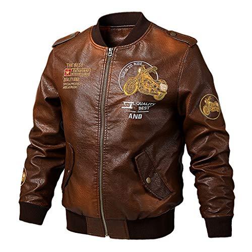 Lixiyu heren PU-lederen bomberjack casual trendy jassen mantel opstaande kraag rits jas jas jas