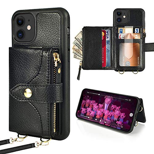 LAMEEKU Wallet Case Compatible with iPhone 12 Pro/iPhone 12, Card Holder Case with Crossbody Strap Zipper Purse Case Compatible with iPhone 12/12 Pro 6.1'' Black