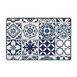Dfform Alfombra de baño Alfombra Antideslizante,Patrón marroquí Lisboa Floral Mosaico Mediterráneo Azul Marino Mexicano Arabesque 29.5X17.5in