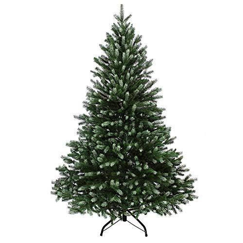 BB Sport Luksusowa choinka sztuczna premium PE / PVC 180 cm ciemny zielony z ośnieżonymi końcówkami metoda wtryskowa stojak ze stojakiem system składania parasolki choinka jak żywa bożonarodzeniowa zielona