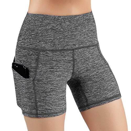 Affordable High Waist Out Pocket Yoga Shorts - Tummy Control Seamless Workout Running Athletic Non S...