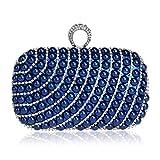 Bolsos Mujer Bolso De Noche De Embrague De Perlas para Mujer Monedero De Moda Bolso De Boda De Mujer con Bolsos De Cadena De Hombro De Fiesta De Anillo Azul