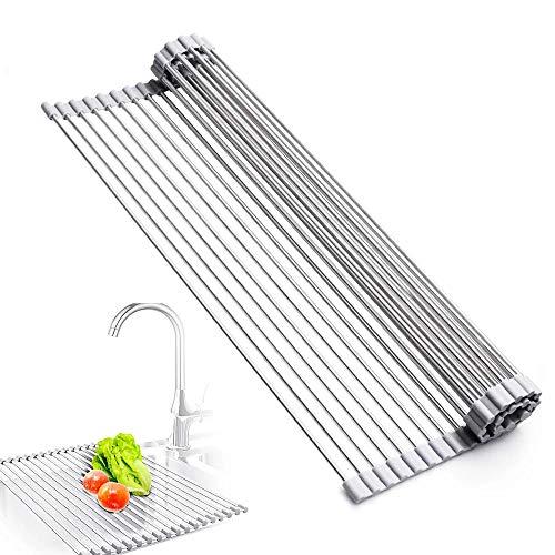 C100AE Plegable Repisa de Drenaje Escurreplatos, Enrolle el Estante de Secado del Fregadero, Rejilla para secar Platos, Escurridor de Cocina,Tapete Resistente al Calor, para Frutas y Verduras