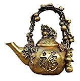 Fashion158 Bronce chino Feng Shui valiente tropas pixiu bestia calabaza té olla Flagon Hip petaca