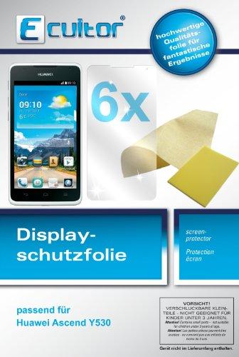 Ecultor I 6x Schutzfolie klar passend für Huawei Ascend Y530 Folie Displayschutzfolie - 2