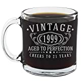 Vintage 1999 Etched 12oz Glass Coffee Mug - 21st Birthday Aged to Perfection - 21 years old gifts