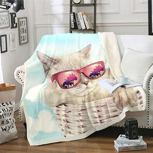 Homemissing Manta de forro polar con diseño de gatos y gatos amarillos, para niños, niñas, gatos, gafas de felpa, para sofá, cama, bebé, 30 x 40 pulgadas