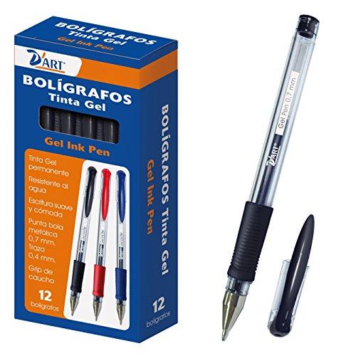 D'Art 79421 - Caja de bolígrafos, tinta gel, 12 unidades, 0.7 mm, color negro