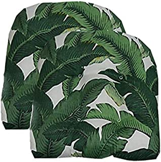 """RSH Décor Indoor/Outdoor Decorative 2 Chair Wicker Cushion Sets Made with Tommy Bahama Fabric (2 - (19"""" x 19"""") U-Shape Seat Cushions, Swaying Palms Aloe)"""