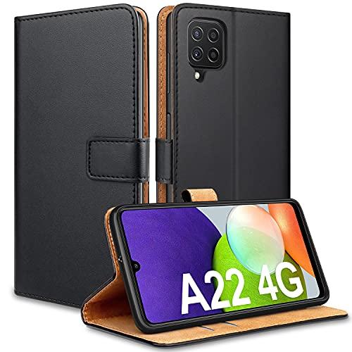 YNMEacc Hülle kompatibel mit Samsung Galaxy A22 4G (Nicht A22 5G), Schutzhülle Premium PU Leder Tasche Klapphülle Magnetisch Standfunktion Handyhülle Hülle für Samsung Galaxy A22 4G, Schwarz