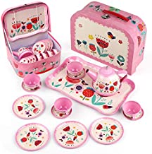 D-FantiX Kids Tea Set for Little Girls, 15Pcs Pink Tin Tea Party Set for Toddlers Princess Afternoon Tea Time Playset with Metal Teapots Tea Cups Play Dishes Pink Kitchen Toys Gifts with Carry Case