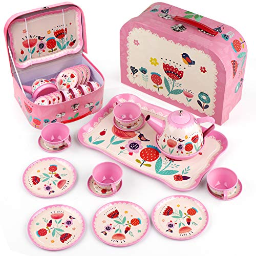 D-FantiX Kids Tea Set for Little Girls, 15Pcs Pink Tin Tea Party Set for Toddlers Afternoon Tea Time Playset with Metal Teapots Tea Cups Play Dishes Princess Toys Gifts with Carry Case