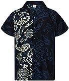 King Kameha Funky Hawaiian Shirt, Shortsleeve, Maori Wedding, Black, L