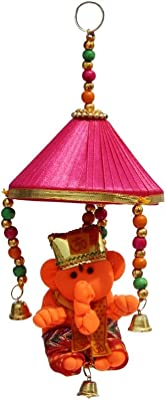 Handicrafts Paradise Door Hanging Modern Ganesha with Pink Tokri and Metal Bell, Multicolour, Standard Size