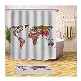 Anwaz Duschvorhang & Badteppich Set Anti-Schimmel aus Polyester Karte Muster Design Badewannenvorhang Badezimmermatte Bunt mit 12 Duschvorhangringen für Badewanne - 180x180CM/ 40x60CM