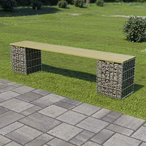 YueStar Gabion Jaulas Gabion Banco 180 cm acero galvanizado y madera de pino