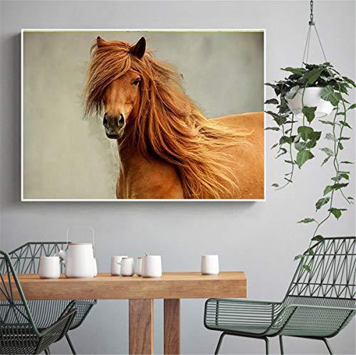Geiqianjiumai Arte Animal Caballo Corriendo Amanecer Pintura al óleo Lienzo Arte Imagen Sala Arte Moderno Pared Cartel sin Marco Pintura 40X60 cm