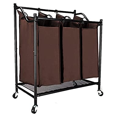 Bonnlo Heavy-Duty 3-Bag Laundry Sorter Cart, Brown