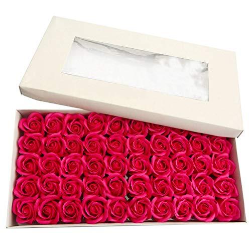Fransande 1 Box 50 StüCke mit Stand Rose Seife Blume K?Rper Bad Seife Rose Whitening Seife Hochzeits Dekoration Geschenk (Rot)