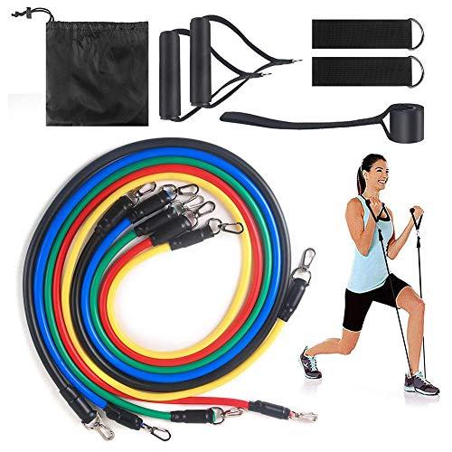 Waar voor uw geld 11 stks Exercise Resistance Bands Set, Fitness Resistance Bands met handvat, deur anker en enkelband, mannen en vrouwen thuis yoga sportschool Pilates