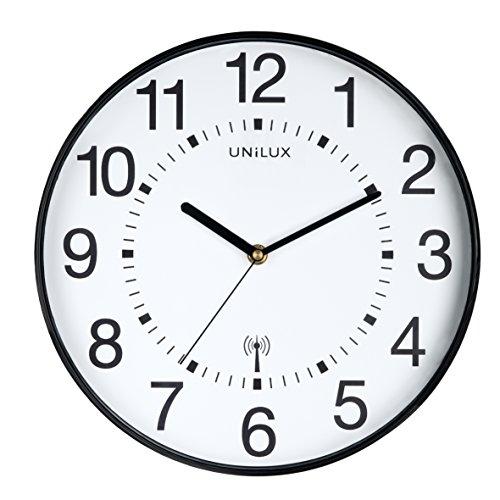 Unilux - Orologio radio da parete radio Wave, 30 cm, orologio radiocontrollato con quadrante moderno, regolazione automatica dell'ora e regolazione dell'ora estiva e invernale