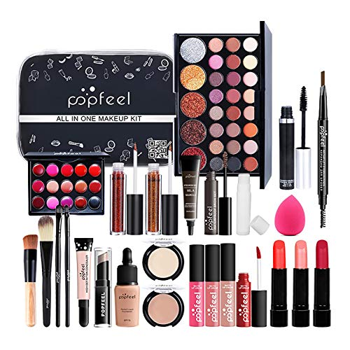 fllyingu 27 Stück Make-up-Sets Für Teenager-Mädchen, Professionelle Make-up-Geschenkset Kosmetik-Set Make-up-Organizer-Box Für Anfänger, 4 Pinsel + 3 Lipgloss + Lidschatten + Andere