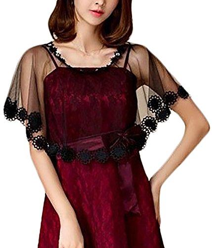 Donna Stola Cerimonia Elegante Vintage Trasparente Ragazza Abbigliamento Fashionable Tulle Mantello Poncho Top per Abiti da Sposa Festa Banchetto (Color : Nero, Size : One Size)