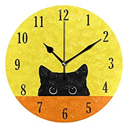 senya Cat Pattern Silent Round Wall Clock Decorative, Battery Operated Easy to Read for Indoor Living Room Bedroom