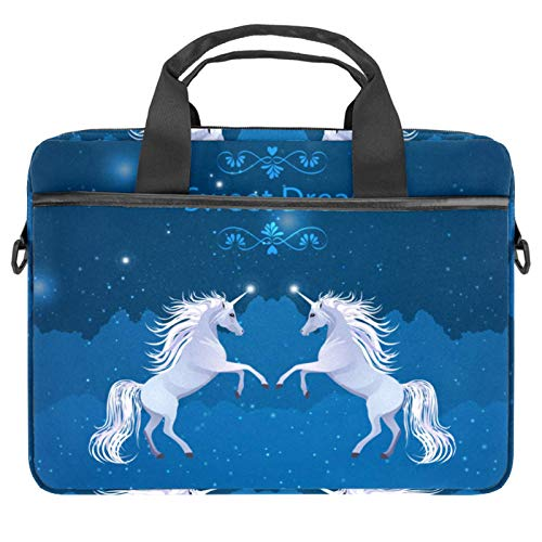 Protective Carry Case Luxury Computer Briefcase Suitable for 13.4'-14.5' Laptop with Display Sweet Dreams Galaxy Unicorn Horse