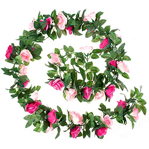 Whaline 2 Pack Fake Rose Vine Flowers Plants, 15ft Pink and Rose Red Artificial Flower Hanging Rose Garlands, for Home Hotel Office Wedding Party Garden Craft Art Decor, Arch Arrangement Decoration