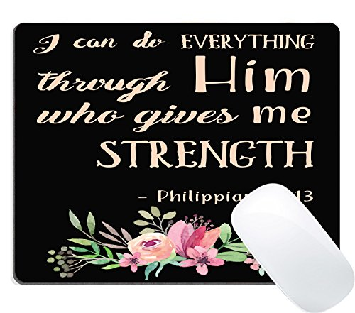 Wknoon Mouse Pad Pink Watercolor Flowers Art Bible Verse Scripture Quotes Philippians - I Can Do Everything Through Him Who Gives Me Strength