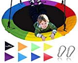 Royal Oak Saucer Tree Swing,Giant 40 Inches with Carabiners and Flags, 700 lb Weight Capacity, Steel Frame, Waterproof, Easy to Install with Step by Step Instructions, Non-Stop Fun! (Rainbow)