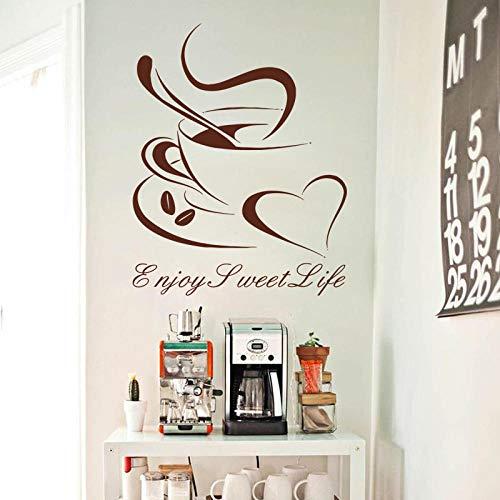 Diseño artístico Vinilo Decoración del hogar Taza de café en forma de corazón Pegatinas de pared Decoración del hogar Hermosa calcomanía de barra en la barra de la cocina o en la tienda 46x51cm
