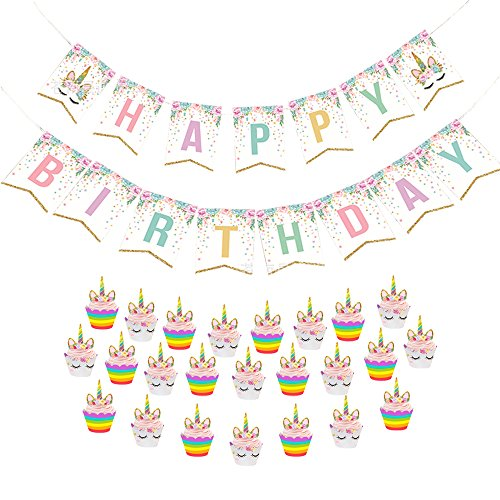 Fivebop Unicorn Cupcake Toppers and Wrappers Double Sided Kids Party Cake Decorations Set of 24 & Unicorn Happy Birthday Bunting Pennant Banner Set of 1 (Rainbow+Smile)