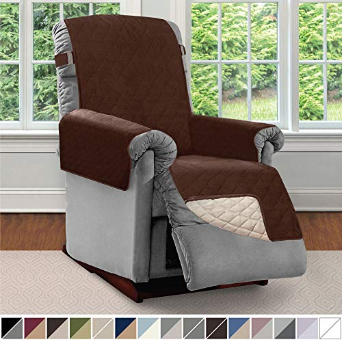 Sofa Shield Original Patent Pending Reversible Small Recliner Protector, Seat Width to 25 Inch, Furniture Slipcover, 2 Inch Strap, Reclining Chair Slip Cover Throw for Pets, Recliner, Chocolate Beige