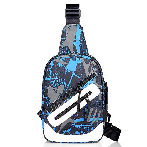Leobtain Men's Sling Shoulder Bag Oxford Cloth Outdoor Chest Bag with USB Port Casual Crossbody Bag Satchel Backpack for Men's Business Hiking Travel