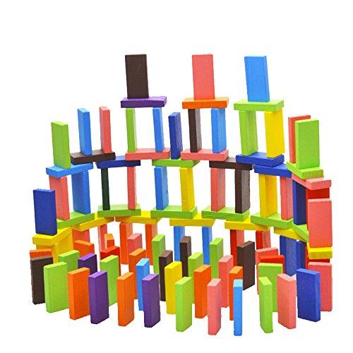 BEETEST 120 piezas Domino juegos Niños bebés colorido dominó bloques pino juguetes de madera temprana inteligencia educativa bloques