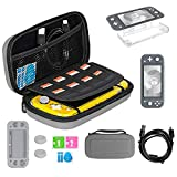 TSBEAU Protective Nintendo Switch Lite Carrying Case With Card Slots, TPU Case Cover, PU Hard Case Cover, Tempered Glass Screen Protector, USB Cable, Thumb Stick Caps & Accessories, Gray